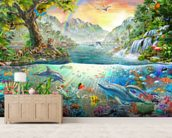 Sea and Land Paradise wallpaper mural living room preview
