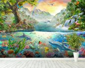 Sea and Land Paradise wallpaper mural in-room view