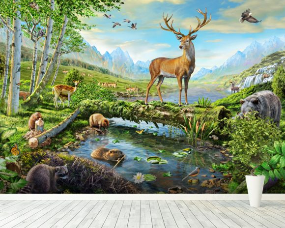 Wildlife Splendor US wallpaper mural room setting