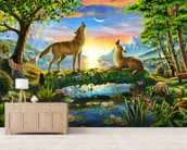 Wolf Harmony mural wallpaper living room preview