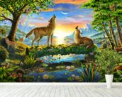 Wolf Harmony mural wallpaper in-room view