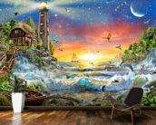 Lighthouse at Dawn wallpaper mural kitchen preview