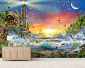 Lighthouse at Dawn wallpaper mural living room preview