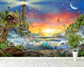 Lighthouse at Dawn wallpaper mural in-room view