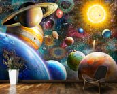 Planets in Space mural wallpaper kitchen preview