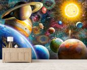 Planets in Space mural wallpaper living room preview