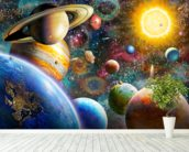 Planets in Space mural wallpaper in-room view
