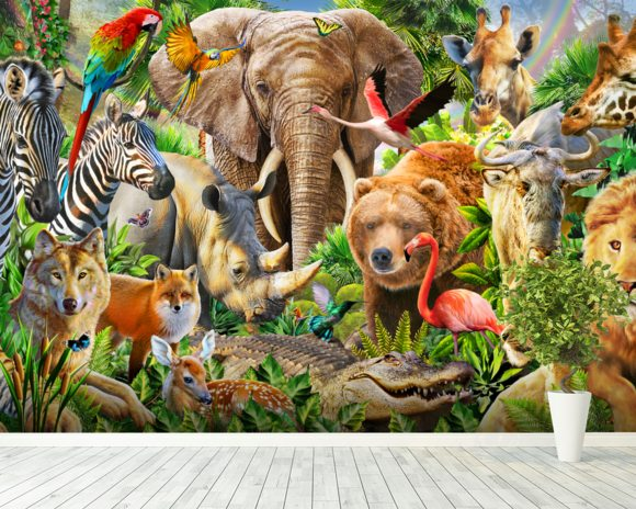 Animal mix panorama wall mural animal mix panorama for Animal mural wallpaper