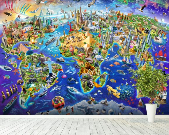 Crazy World wallpaper mural room setting