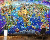 Crazy World wallpaper mural kitchen preview