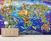 Crazy World wallpaper mural living room preview