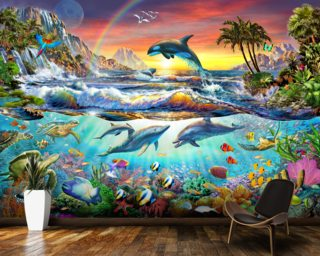 Dolphin wallpaper wall murals wallsauce usa for Dolphins paradise wall mural