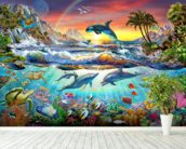 Paradise Cove wall mural in-room view