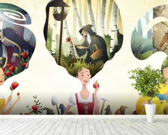 Fairy Tale Princesses wallpaper mural room setting