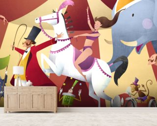 Mark bird wall murals wallsauce usa for Circus wall mural