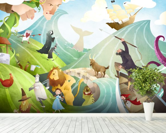 Waves Of Imagination wallpaper mural room setting