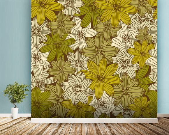 Camo yellow wall mural camo yellow wallpaper wallsauce usa for Camouflage wall mural