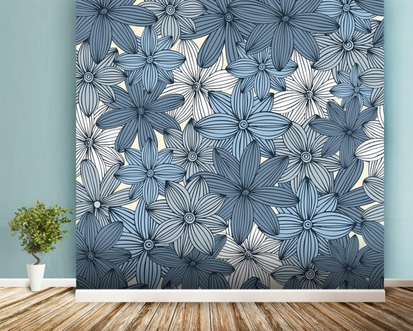Camo blue wall mural camo blue wallpaper wallsauce canada for Camouflage wall mural