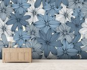 Camo blue wall mural living room preview