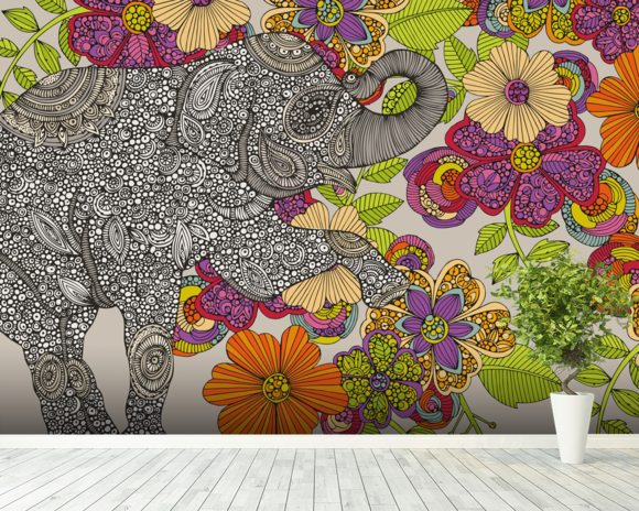 Elephant Puzzle mural wallpaper room setting