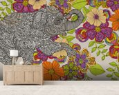 Elephant Puzzle mural wallpaper living room preview