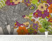 Elephant Puzzle mural wallpaper in-room view
