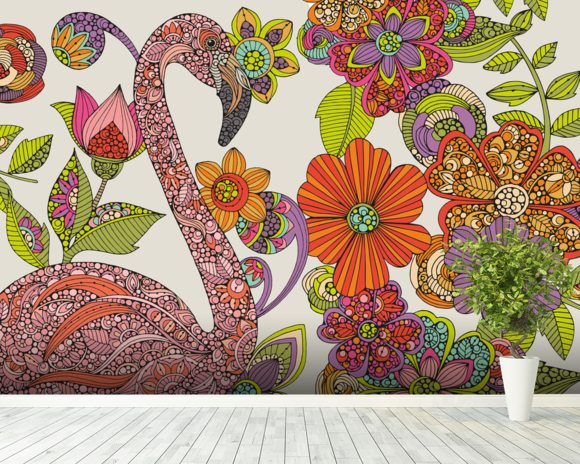 Flamingo Puzzle mural wallpaper room setting