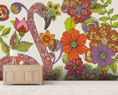 Flamingo Puzzle mural wallpaper living room preview