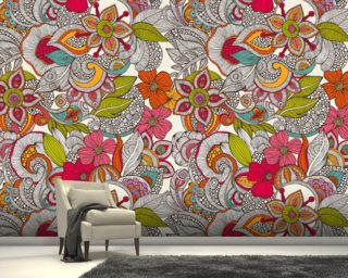 Flower Doodles Color wall mural