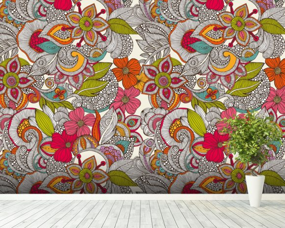 Flower Doodles Color wall mural room setting