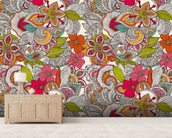 Flower Doodles Color wall mural living room preview