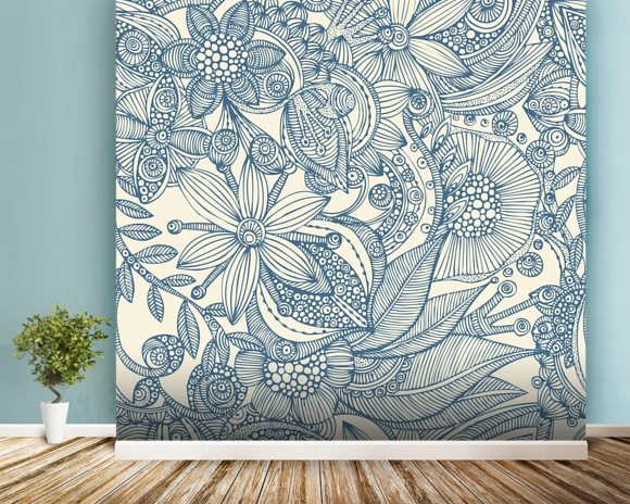 Flowers and doodles blue wall mural room setting