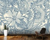 Flowers and doodles blue wall mural kitchen preview