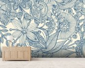 Flowers and doodles blue wall mural living room preview
