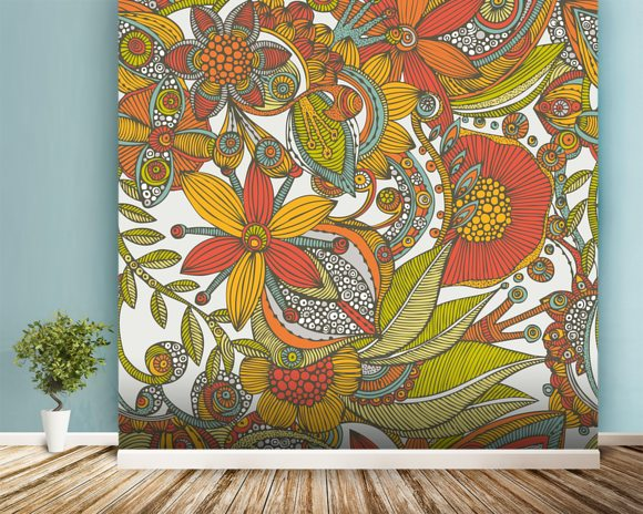 Flowers and doodles orange mural wallpaper room setting