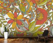 Flowers and doodles orange mural wallpaper kitchen preview