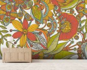 Flowers and doodles orange mural wallpaper living room preview