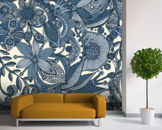Flowers and doodles wall mural