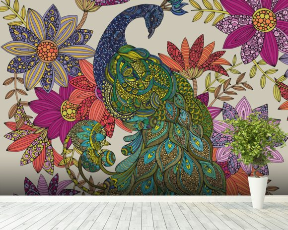 Peacock Puzzle wall mural room setting
