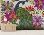 Peacock Puzzle wall mural living room preview