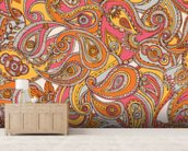 Spring Paisley mural wallpaper living room preview