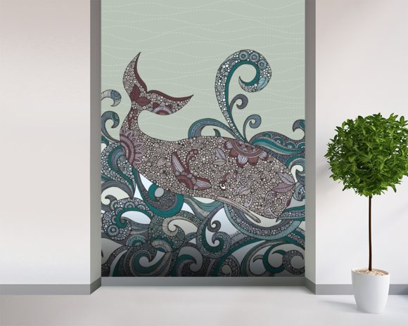 Whale wall mural room setting