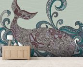 Whale wall mural living room preview