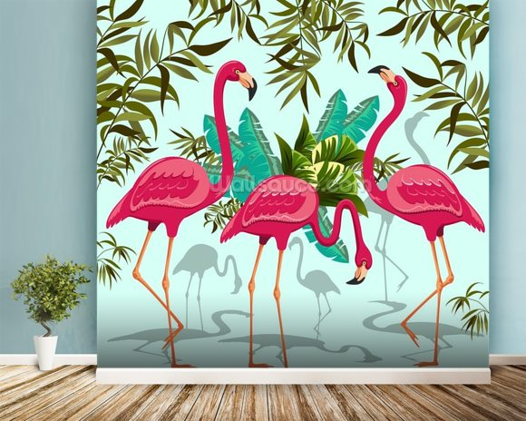 Tropical Pink Flamingos Mural Wallpaper Room Setting