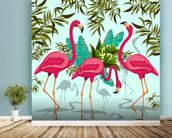 Tropical Pink Flamingos mural wallpaper in-room view