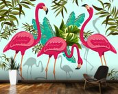 Tropical Pink Flamingos mural wallpaper kitchen preview
