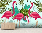 Tropical Pink Flamingos mural wallpaper living room preview