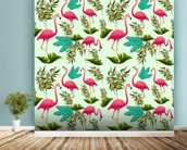 Pink Flamingo Pattern wall mural in-room view