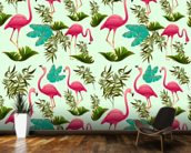 Pink Flamingo Pattern wall mural kitchen preview