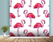 Summer Pink Flamingos wall mural in-room view